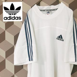 アディダス(adidas)の【adidas】アディダス 袖ライン ビッグシルエット Tシャツ 白/L(Tシャツ/カットソー(半袖/袖なし))