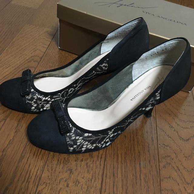VIVA ANGELINA(ビバアンジェリーナ)の黒レースハイヒール レディースの靴/シューズ(ハイヒール/パンプス)の商品写真