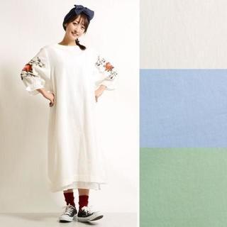 メルロー(merlot)のSALE!【Fillil/フィリル】袖ふんわりバラ刺繍ワンピース(ロングワンピース/マキシワンピース)