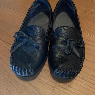 アシックス(asics)のローファー黒 革靴  送料込みに変更しました!(ローファー/革靴)