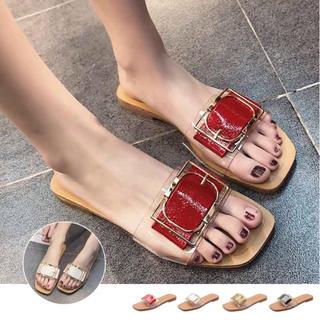 ♥ サンダル ミュール ビーチサンダル 靴 ローヒール スリッパ ぺたんこ(サンダル)