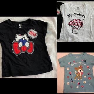 ユニクロ(UNIQLO)の【中古】UNIQLO×サンリオTシャツ3枚セット100&長袖カットソー2枚セット(Tシャツ/カットソー)