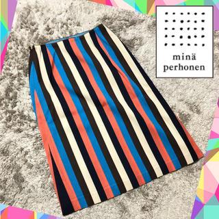 ミナペルホネン(mina perhonen)の【MINA】ミナ ペルホネン (M)膝丈スカート クレイジー柄 総柄(ひざ丈スカート)