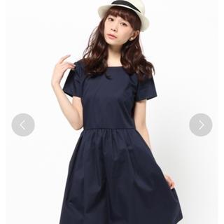 ティアラ(tiara)のTiara ツイルカラー ワンピース 紺 サイズ4(ひざ丈ワンピース)
