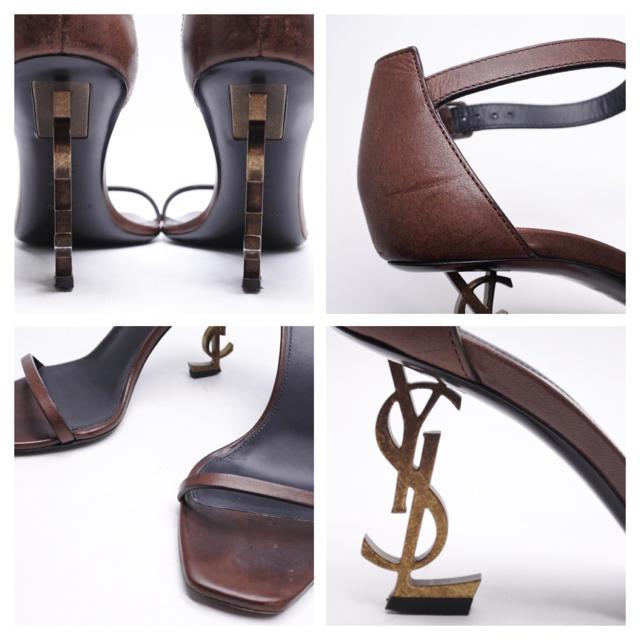 Saint Laurent(サンローラン)のサンローランパリ オピウム サンダル ヒール 34 1/2 レディース ブラウン レディースの靴/シューズ(ハイヒール/パンプス)の商品写真