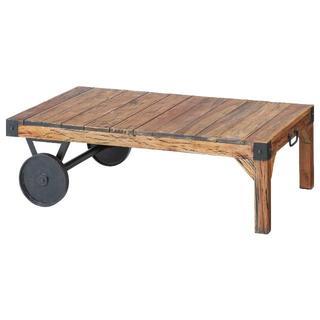 トロリーテーブル☆ ナチュラルな木製 アイアン(ローテーブル)