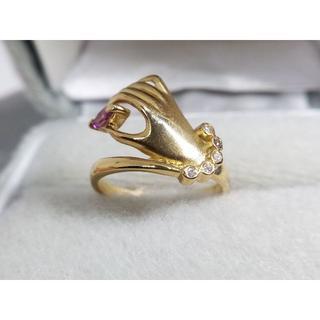 K18 ピンクサファイア0.162ct ダイヤ0.03ct デザインリング 指輪(リング(指輪))