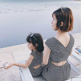 オススメ☆ママ オールインワン キッズ ワンピース リンクコーデ ボーダー(ワンピース)
