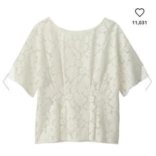 ジーユー(GU)の処分価格‼️GU レースプルオーバー ブラウス Tシャツ トップス ユニクロ(シャツ/ブラウス(半袖/袖なし))
