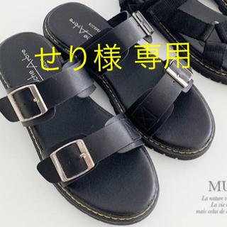 シマムラ(しまむら)の新品 しまむら 人気完売品 サンダルM 黒(サンダル)