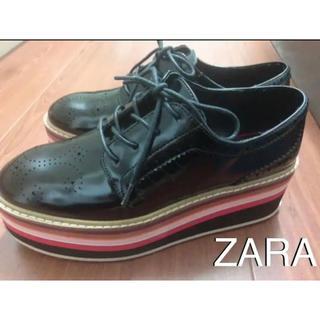 ザラ(ZARA)のSALE★ZARA★マルチカラー プラットフォーム ブルーチャー 厚底(ローファー/革靴)