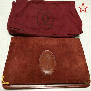 カルティエ(Cartier)のセール! カルティエ☆ クラッチバッグ☆ 革 スウェード 赤 ボルドー(クラッチバッグ)