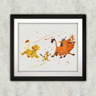 Disney - シンバ&ティモン&プンバァ(ライオンキング)アートポスター【額縁つき・送料無料】