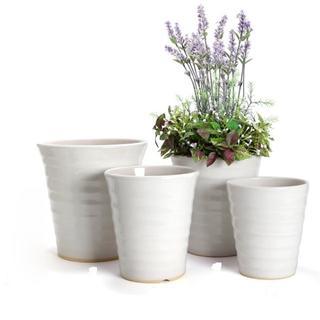【とよちん様専用】艶のある白が美しい陶器製の植木鉢2点セット(その他)