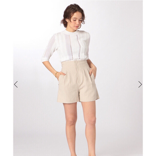 アメリヴィンテージ(Ameri VINTAGE)のetre tokyo レーシーニットトップス ホワイト(Tシャツ(半袖/袖なし))