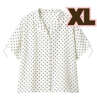 ジーユー(GU)の新品!GU★完売品!ドットオープンカラーシャツ(半袖)/白XL(シャツ/ブラウス(半袖/袖なし))