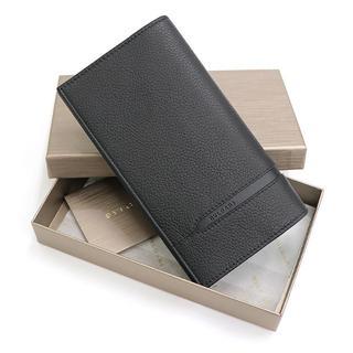 ブルガリ(BVLGARI)のBVLGARI 二つ折り長財布 グレイン カーフレザー ブラック A1136(長財布)