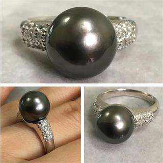 Pt900  10.2ミリ 大粒黒蝶パール ダイヤモンド リング(リング(指輪))