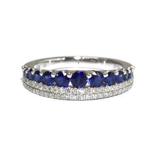 18金 K18 ホワイトゴールド サファイア ダイヤ ダイヤモンド リング 指輪(リング(指輪))