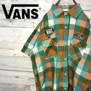ヴァンズ(VANS)の【レア】バンズ VANS☆刺繍ワッペンロゴ ブロックチェック 半袖シャツ(シャツ)