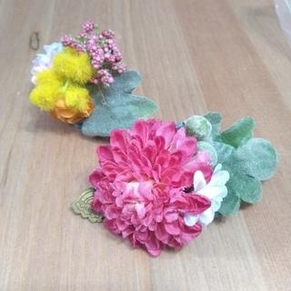 カスタネ(Kastane)のCHACO 花モチーフヘアバレッタ2個セット(バレッタ/ヘアクリップ)