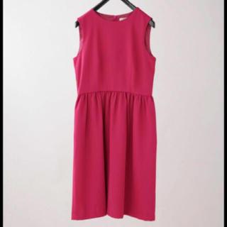 ナノユニバース(nano・universe)のウエストギャザープレーンワンピース  ピンク ドレス(ひざ丈ワンピース)