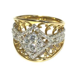 18金 K18 ゴールド ホワイトゴールド コンビ ダイヤ ダイヤモンド リング(リング(指輪))