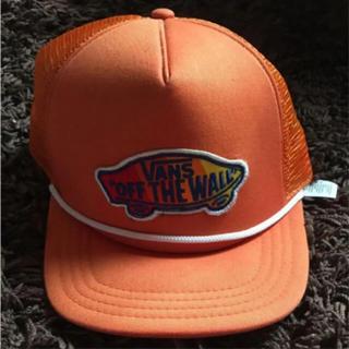 ヴァンズ(VANS)のメッシュキャップ VANS USA オレンジ スケート(キャップ)