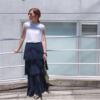 グリード(GREED)の新品未使用タグ付 GREED crepewave skirt navy Sサイズ(ロングスカート)