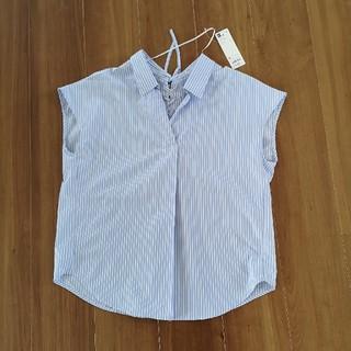 ジーユー(GU)のGU ストライプバックレースアップブラウス M ブルー(シャツ/ブラウス(半袖/袖なし))