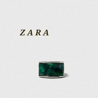 ZARA - ZARA ザラ ストーン付き シグネットリング ストーンリング シルバーリング