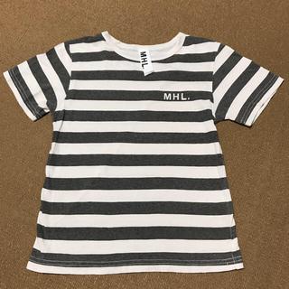 マーガレットハウエル(MARGARET HOWELL)のマーガレットハウエル130キッズボーダーTシャツMHL.ロゴ完売(Tシャツ/カットソー)