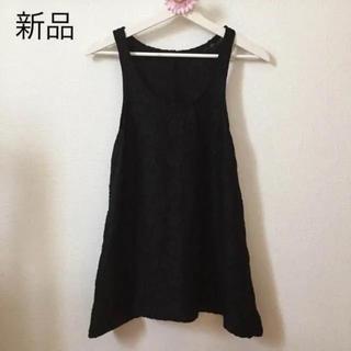 シマムラ(しまむら)の花柄 レース ノースリーブ  ブラック(カットソー(半袖/袖なし))