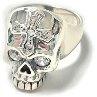 純銀 シルバー925 スカルリング ホワイトジルコニア 18号 4932(リング(指輪))