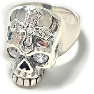 純銀 シルバー925 スカルリング ホワイトジルコニア 20号 4949(リング(指輪))