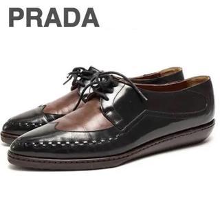 プラダ(PRADA)のPRADA プラダ オックスフォード レースアップ シューズ ブラウン 黒(ローファー/革靴)