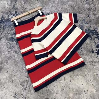 グッチ(Gucci)のgucci☆sylvieカラーストライプウールニットスカート(ミニワンピース)