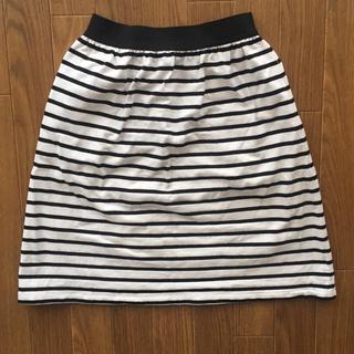 ベルメゾン(ベルメゾン)の白と黒ボーダー スカート S(ひざ丈スカート)