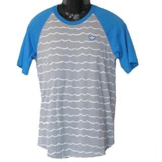 アディダス(adidas)の新品S★アディダス水色×グレーボーダーGONZ Tシャツ(Tシャツ/カットソー(半袖/袖なし))