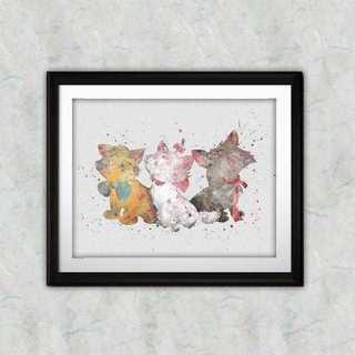 ディズニー(Disney)のマリー&ベルリオーズ&トゥルーズ(おしゃれキャット)アートポスター【額縁つき!】(ポスター)