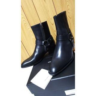 サンローラン(Saint Laurent)の正規新古 サンローラン ワイアット ハーネスリングヒールブーツ黒40 25~26(ブーツ)