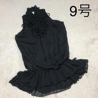 ザラ(ZARA)の黒 シフォンフリルチュニック 結婚式二次会ドレス(ナイトドレス)