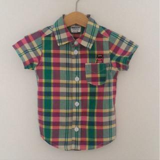 ブリーズ(BREEZE)のBREEZE パグ刺繍 チェックシャツ 90(ブラウス)