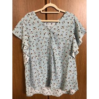 ジーユー(GU)の花柄ブラウス 水色 半袖(シャツ/ブラウス(半袖/袖なし))