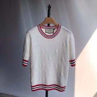 グッチ(Gucci)の【GUCCI】GGウールシルク トップ ホワイト ニット(ニット/セーター)
