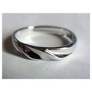 新品SVシルバー925リング指輪13号サイズ調節フリーサイズ ピンキーリング(リング(指輪))