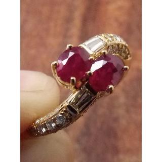 真っ赤でキレイなルビーです!K18ルビーリング 6号(リング(指輪))