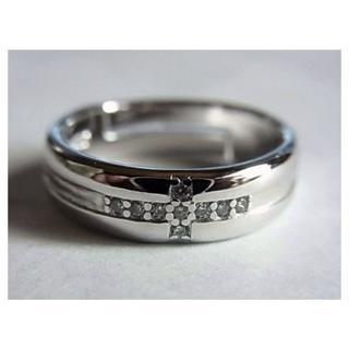 新品SVシルバー925リング指輪13号クロスCZキュービックジルコニア人工ダイヤ(リング(指輪))
