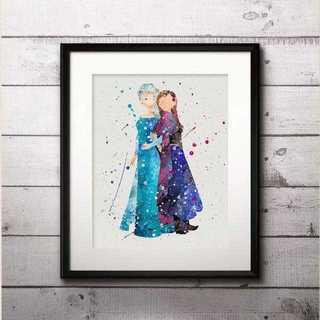 ディズニー(Disney)のアナ&エルサ2(アナ雪・アナと雪の女王)アートポスター【額縁つき・送料無料!】(ポスター)