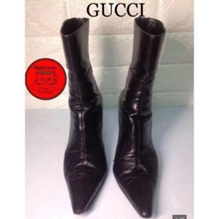 グッチ(Gucci)の【正規品】GUCCI レザーピンヒールブーツ(ブーツ)